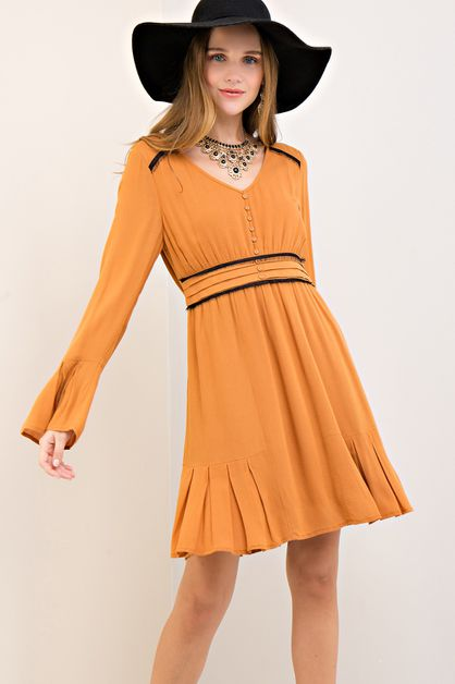 Solid dress featuring lace trim - orangeshine.com