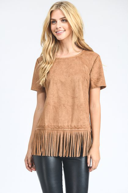 Short Sleeve Suede Fashion Top  - orangeshine.com