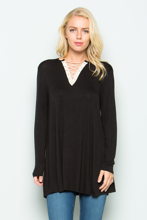 Eyelet tape lace up  tunic - orangeshine.com