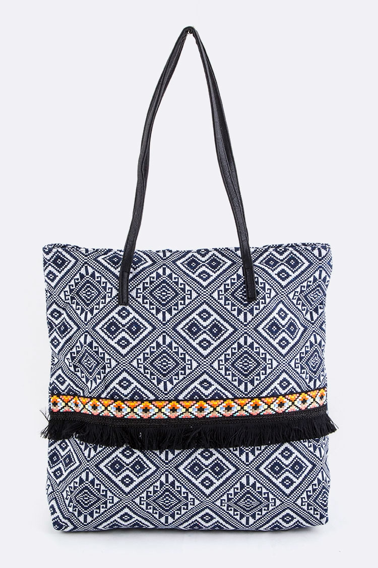 Tribal Mix Rhombus Pattern Tote - orangeshine.com