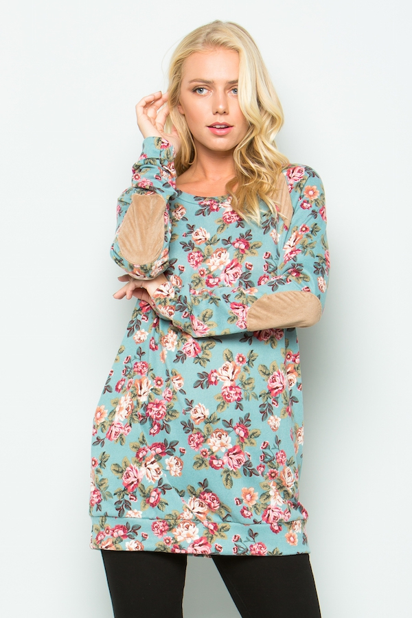 Floral sweater tunic - orangeshine.com