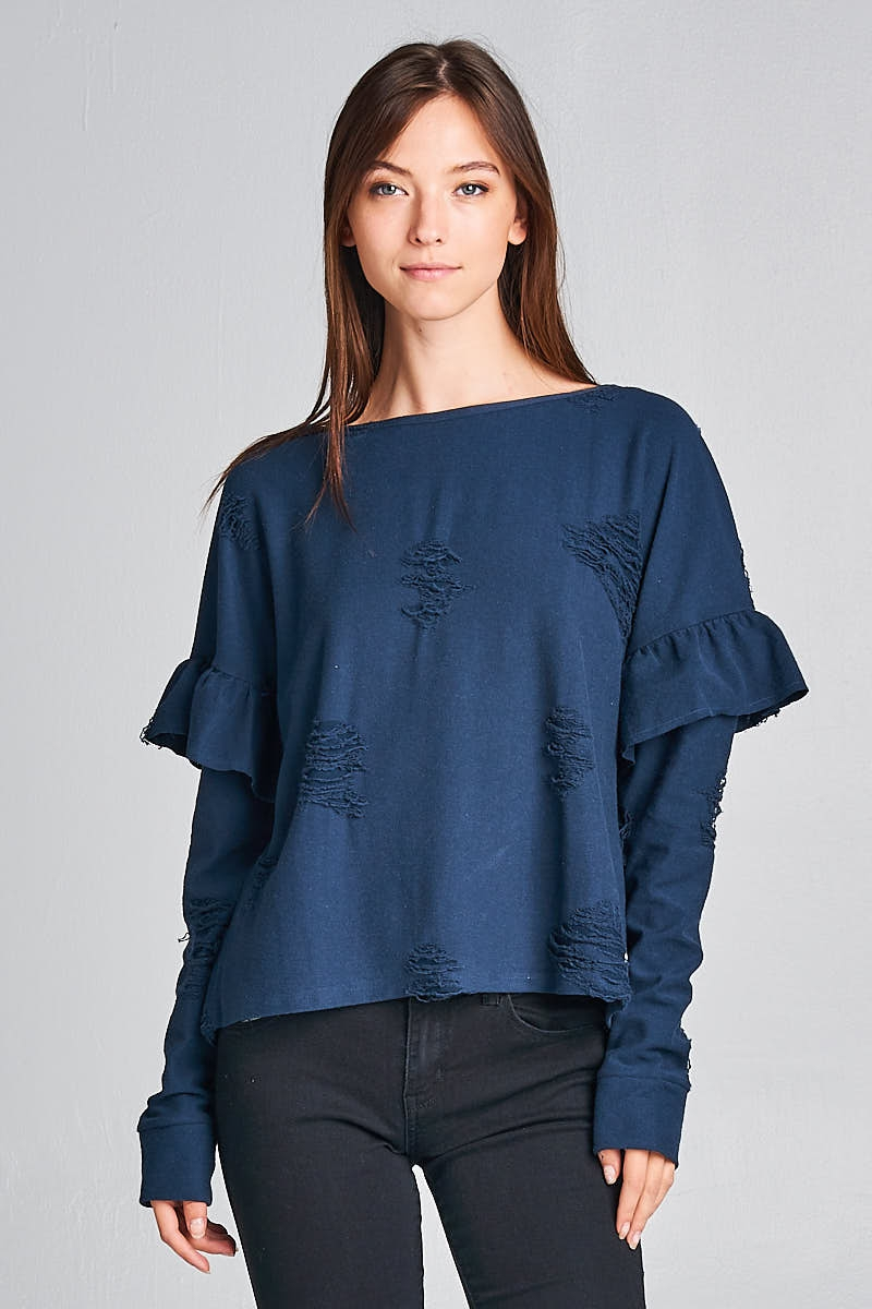 Torn Style Ruffled Top - orangeshine.com