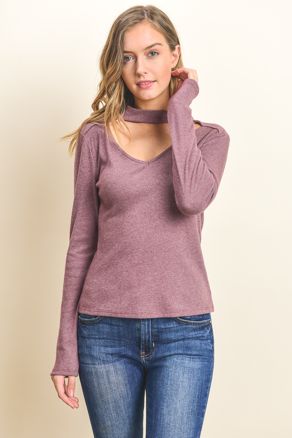 Long Sleeve Choker Top - orangeshine.com