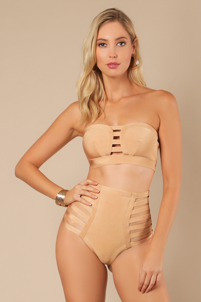 Strappy Two Piece Bandage Swim Set - orangeshine.com