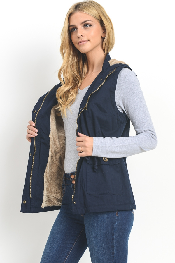 Hooded Twill Vest - orangeshine.com
