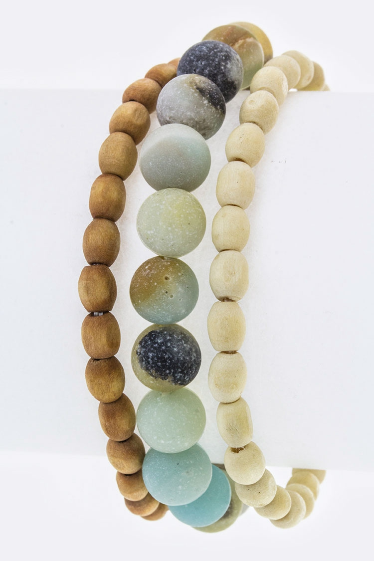Semi Precious Bead Stretch Bracelet - orangeshine.com
