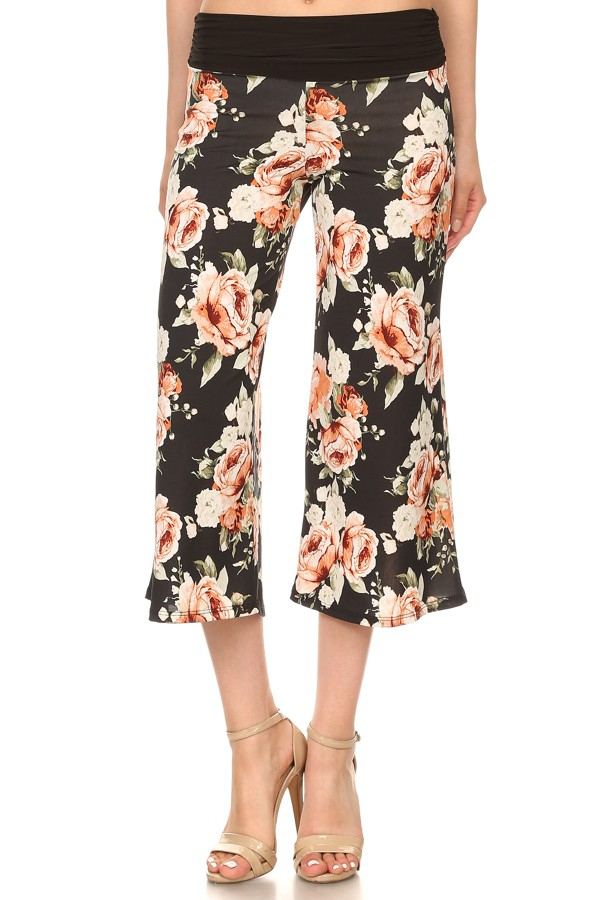 Black and Pink Floral Capri Pants - orangeshine.com