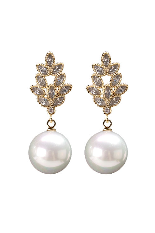 Wide Pearl With Cubic Post Earrings - orangeshine.com