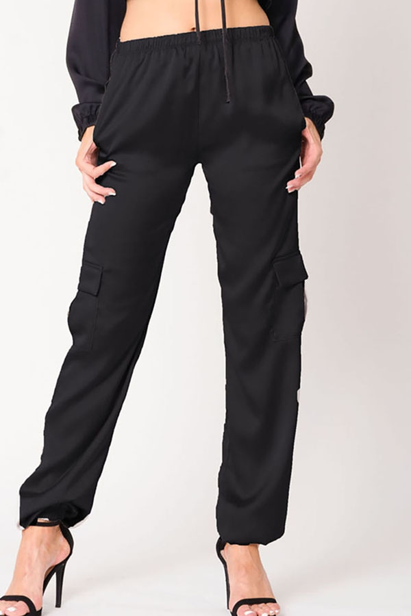 SATIN POCKETS SOLID PANTS - orangeshine.com