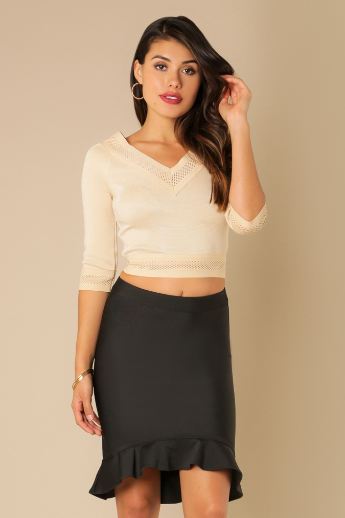 Sheer Banded V-Neck Bandage Crop Top - orangeshine.com