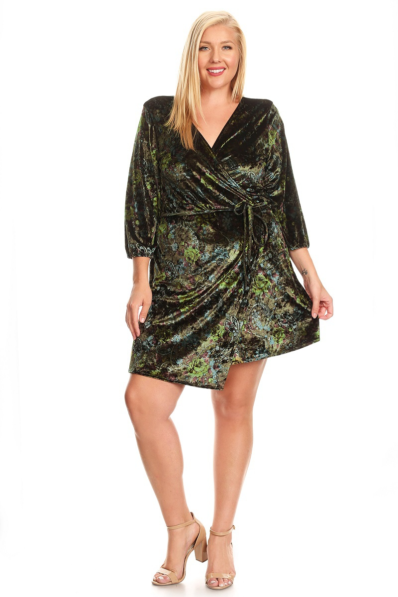 PLUS SIZE VELVET WRAP A-LINE DRESS - orangeshine.com