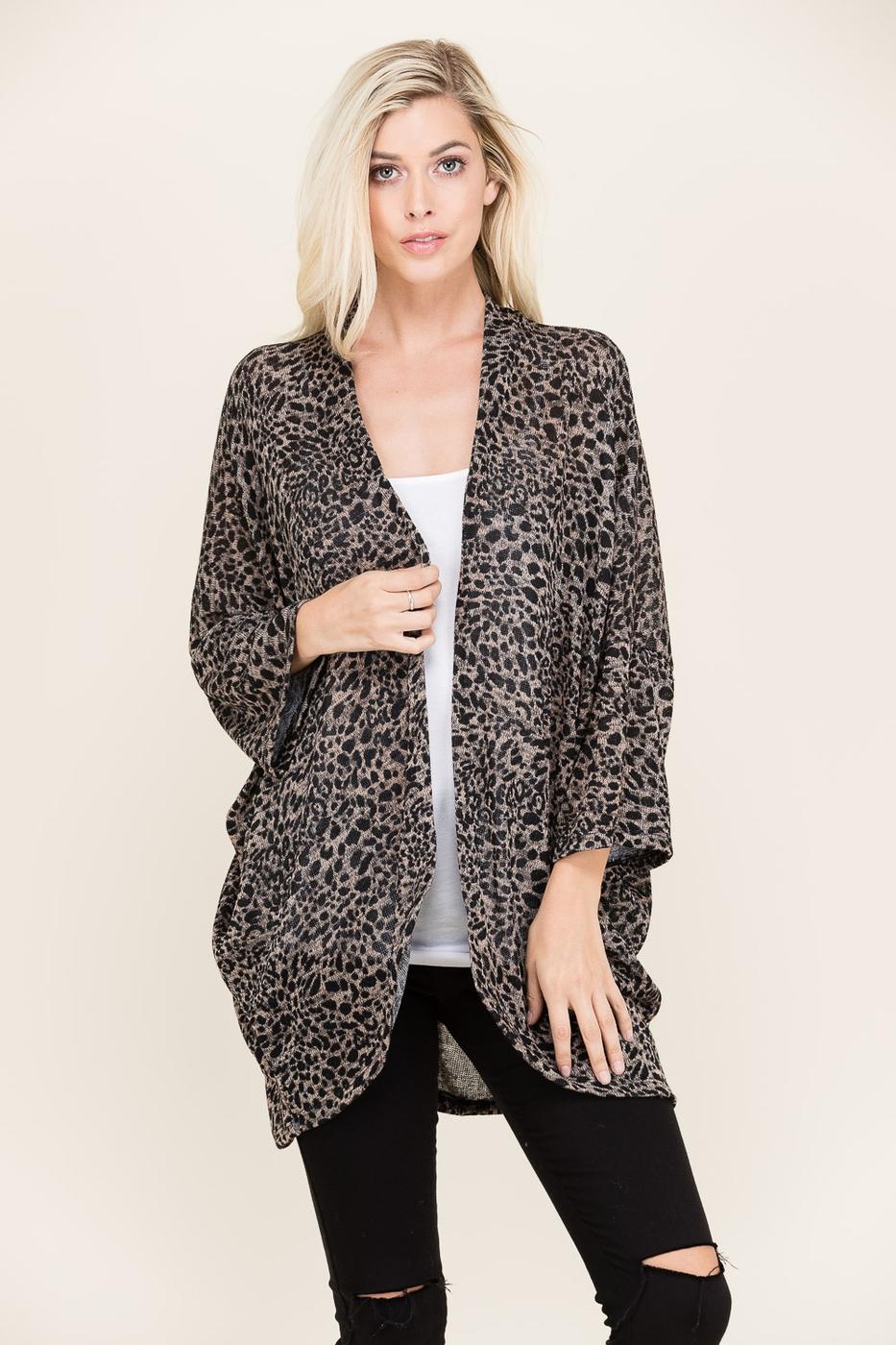 CREPAS Wholesale Leopard Print Kimono Cardigan | Orangeshine.com