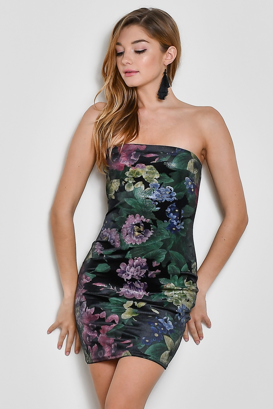 STRAPLESS FLORAL MINI DRESS - orangeshine.com