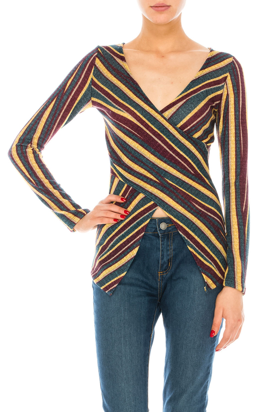 CROSSED LONG SLEEVE TOP - orangeshine.com