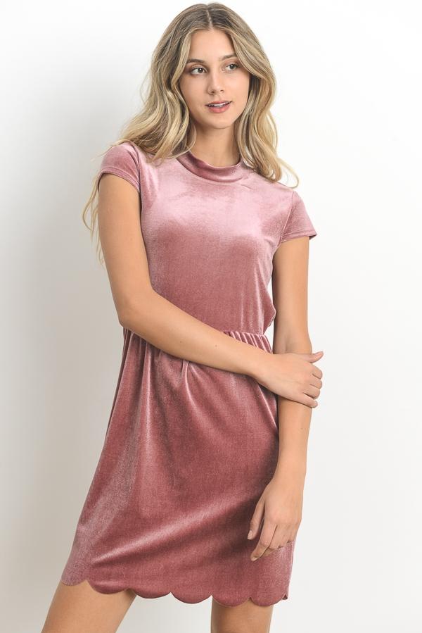 69564d29882 LELIS COLLECTION - Short Sleeve Velvet Dress