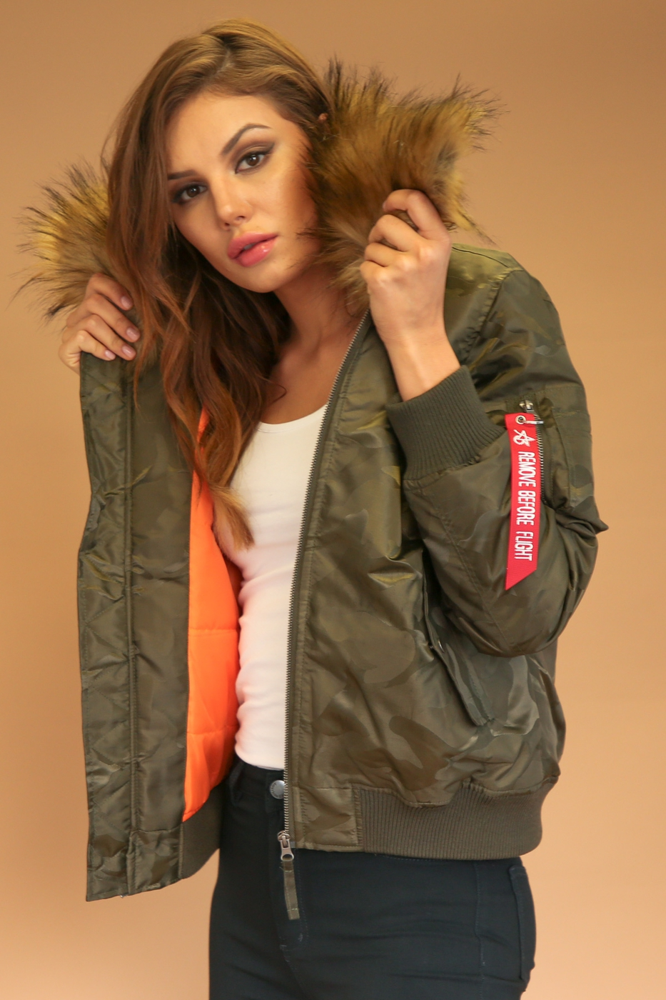 FALL WINTER WOMEN CAMO BOMBER JACKET - orangeshine.com