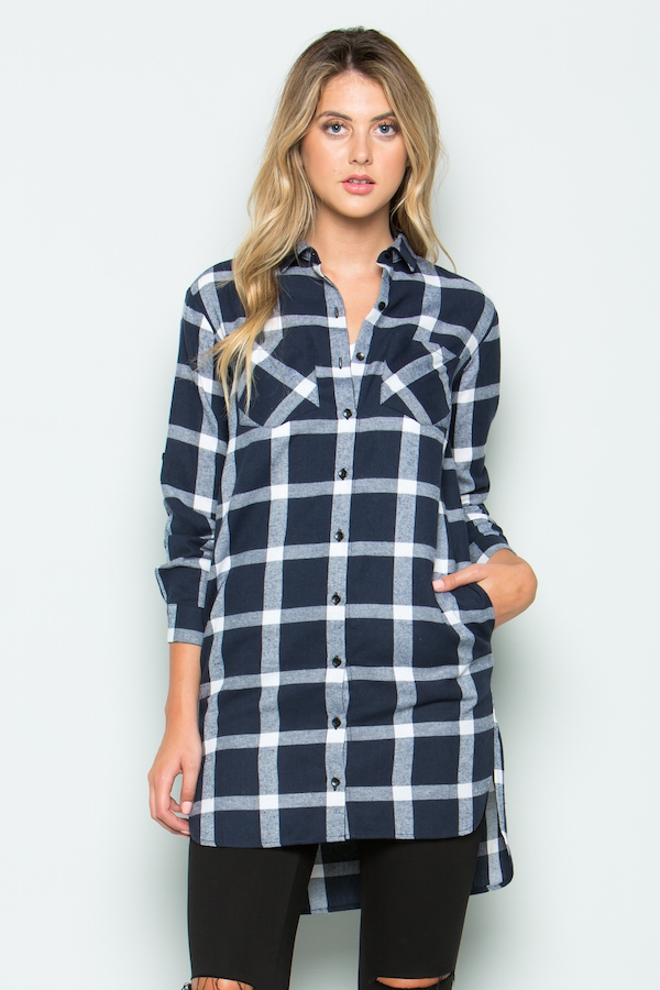 Plaid roll up sleeve tunic shirts - orangeshine.com
