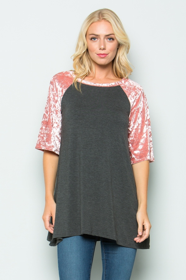 Velvet contrast short sleeves tunics - orangeshine.com