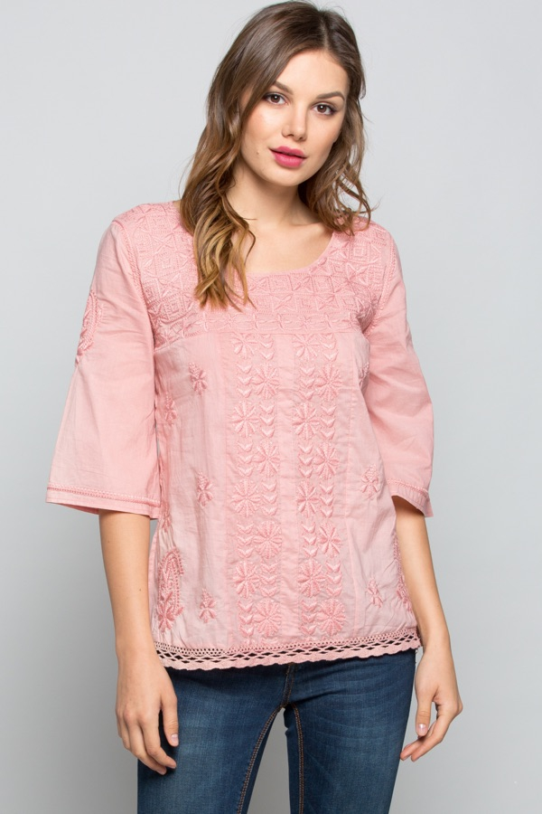 Cute Embroidered Woven Top - orangeshine.com