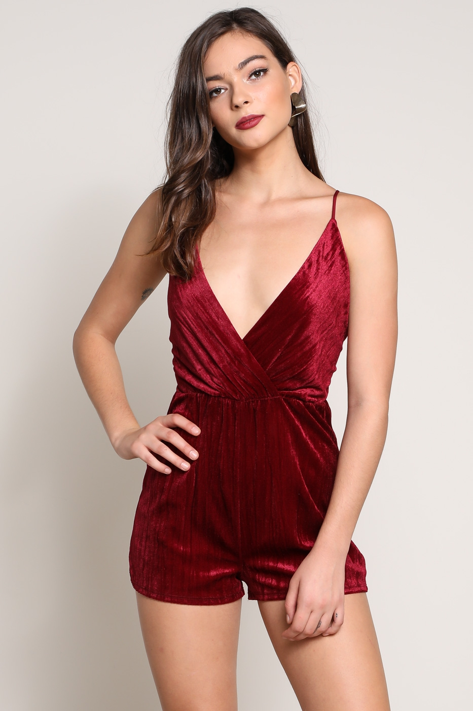 VELVET CROSS BACK ROMPER - orangeshine.com
