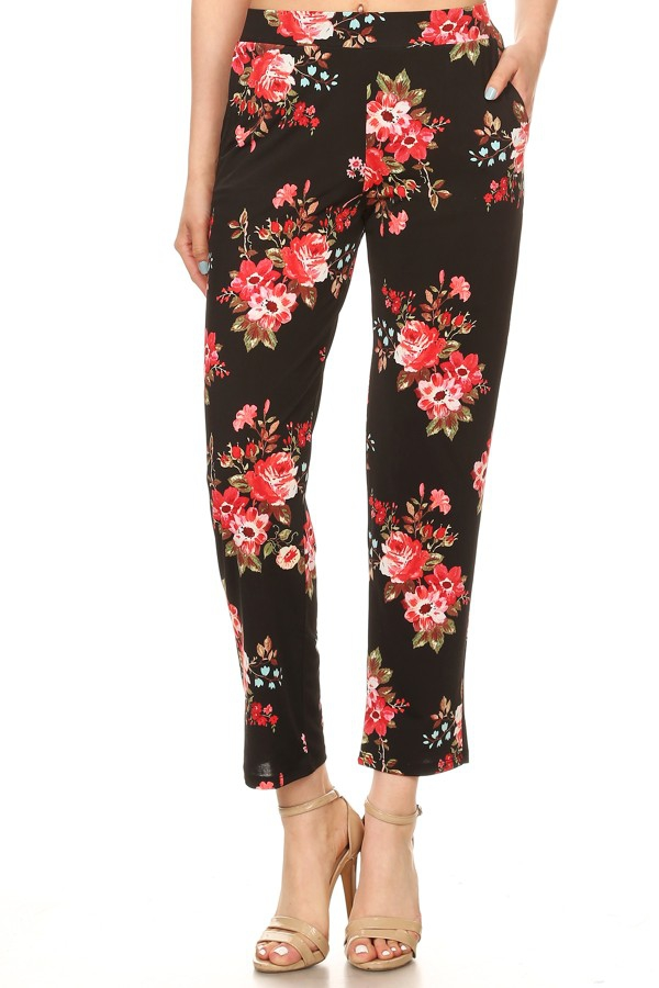 Black and Red Floral long pants - orangeshine.com