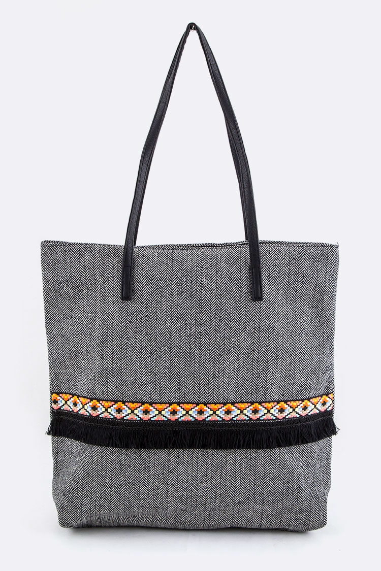 Oblique Stripes Pattern Tote - orangeshine.com