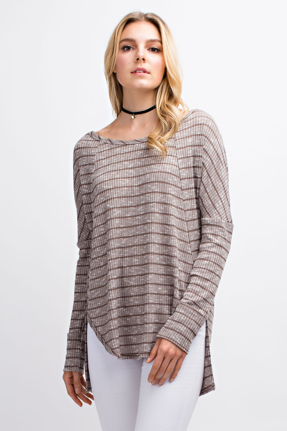 Striped Long Sleeve  Hi Low Tee - orangeshine.com