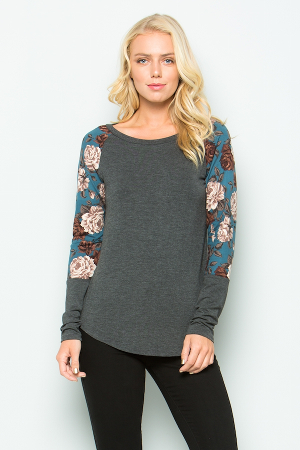 Floral  long sleeve top - orangeshine.com