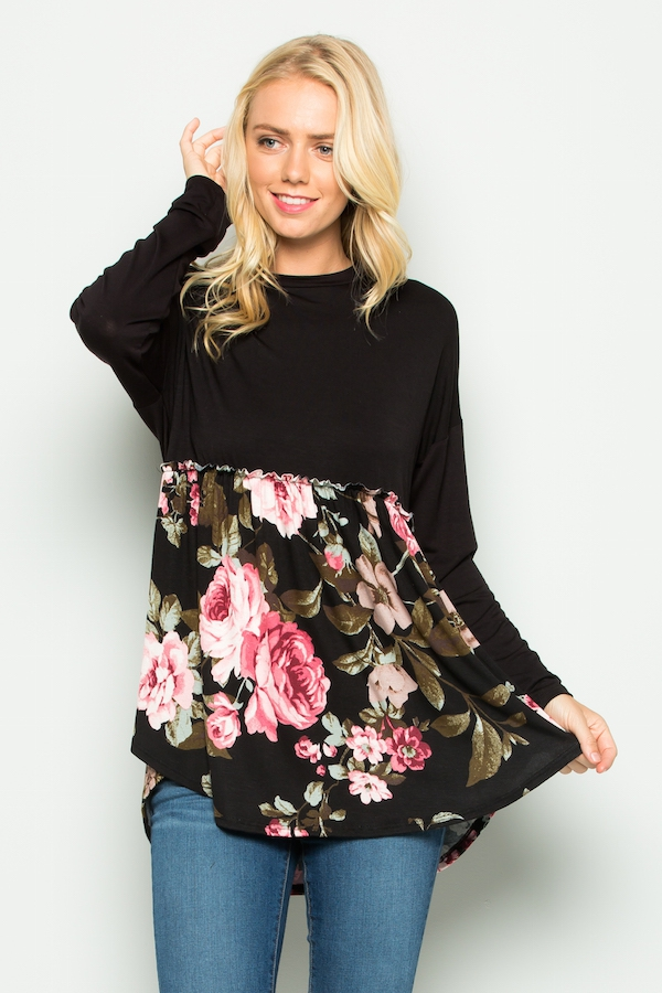 Floral contrast baby doll top - orangeshine.com