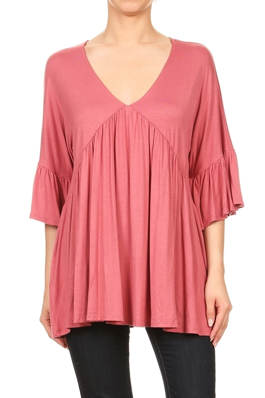 PLEATED BELL SLEEVE V-NECK TOP - orangeshine.com