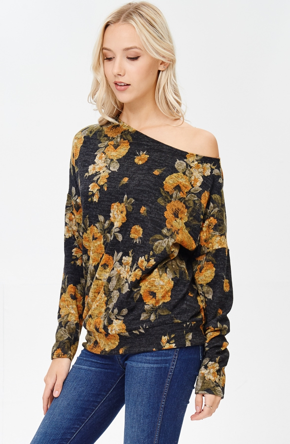 Floral Print Cold Shoulder Top - orangeshine.com
