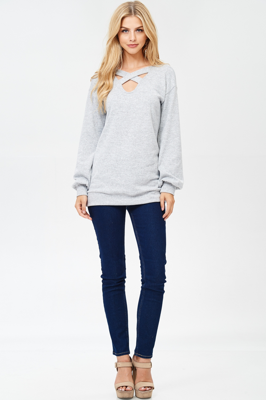Criss Cross Detail Sweater - orangeshine.com