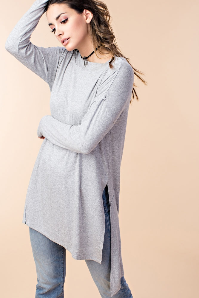 EASY MOCK NECK UNEVEN HEM TUNIC TOP - orangeshine.com