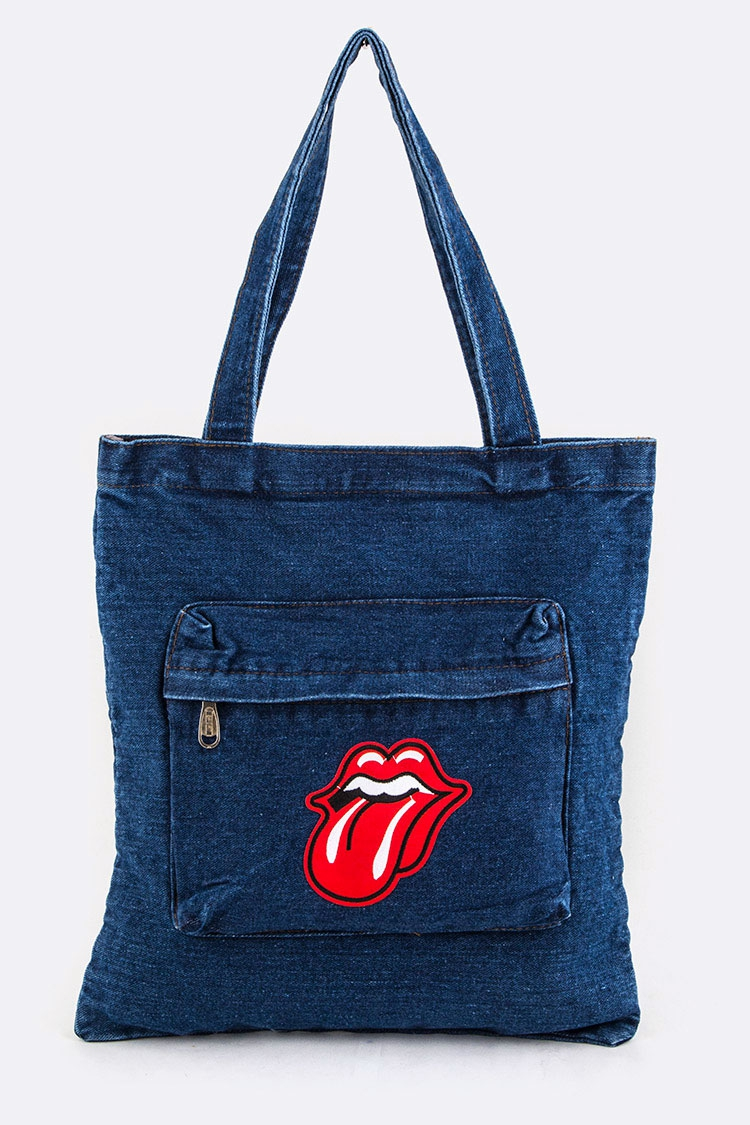 Big Mouth Patch Denim Tote - orangeshine.com