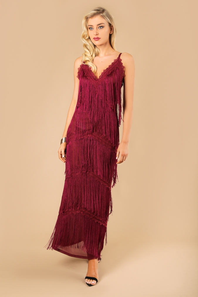 Spaghetti Strap Fringed Maxi Dress - orangeshine.com