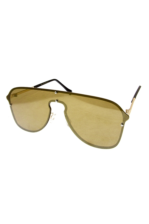Rimless Keyhole Shield Sunglasses - orangeshine.com