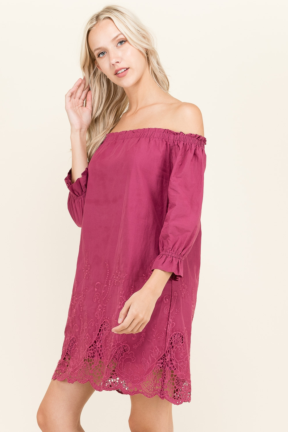 Embroidered Off to Shoulder Dress - orangeshine.com
