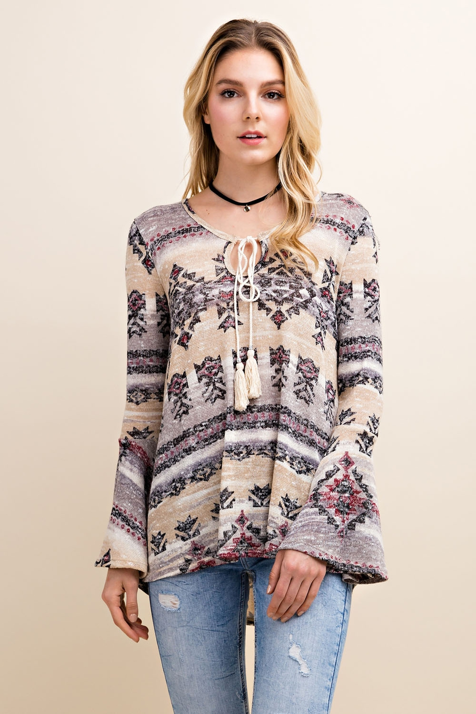 Lightweight Tribal Print Sweater - orangeshine.com