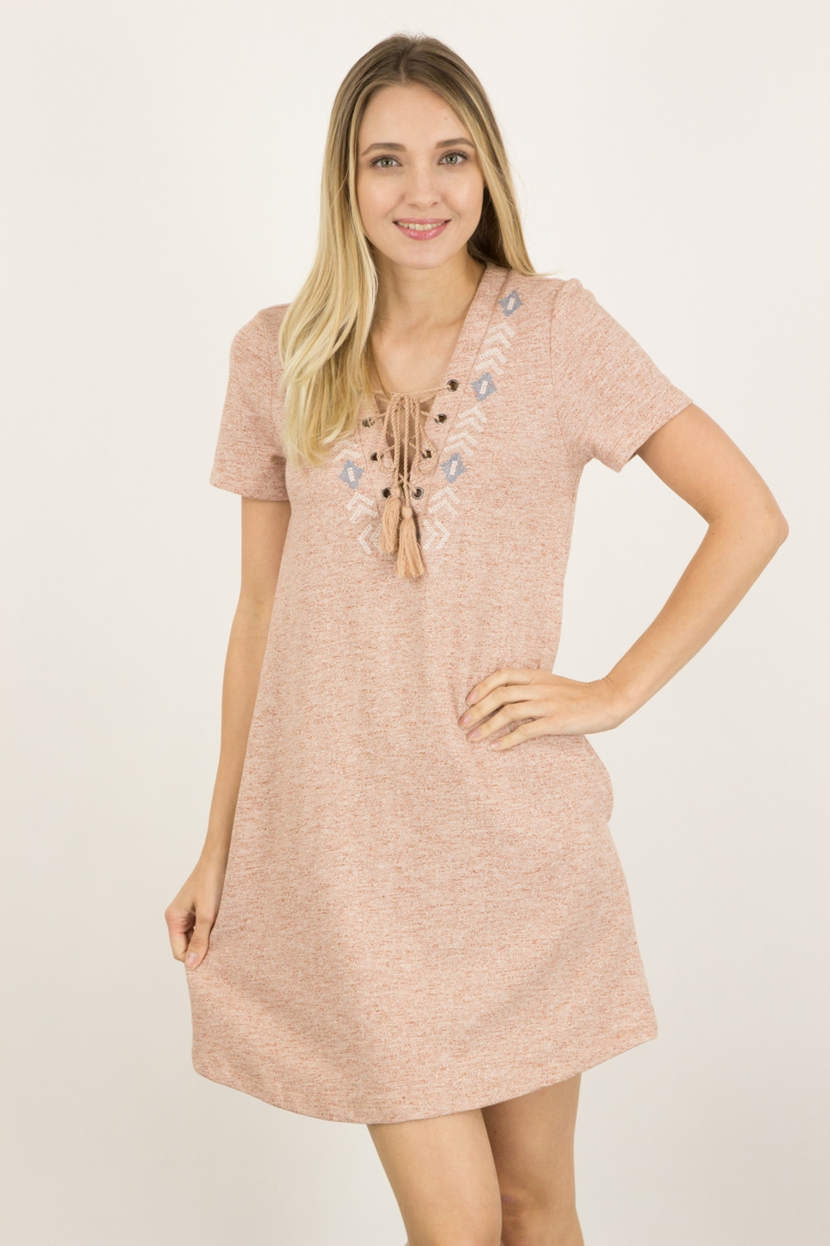 EMBO GROMET FRENCH TERRY DRESS - orangeshine.com