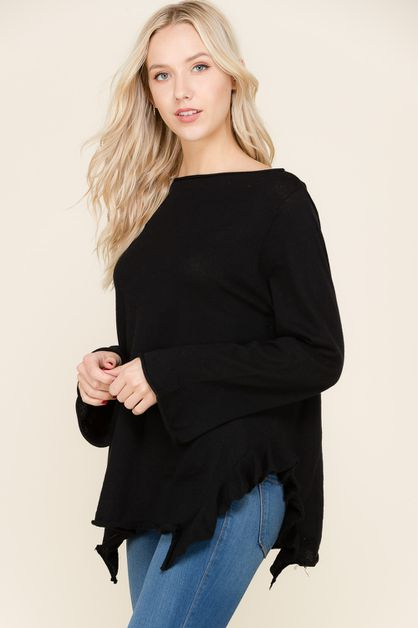 Solid Wide Sleeve Knit Top High Low  - orangeshine.com