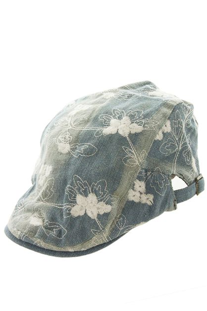 Embroidered Floral Denim Driver Cap - orangeshine.com