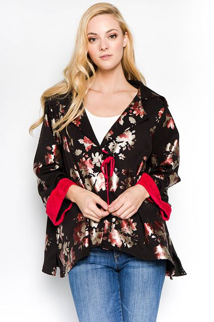 SEMI FORMAL BLACK FLORAL BLAZER JACK - orangeshine.com