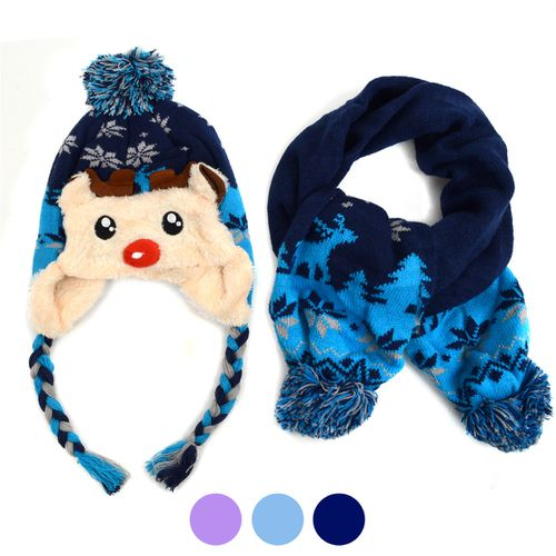 Kids Winter Reindeer Scarf and Hat - orangeshine.com