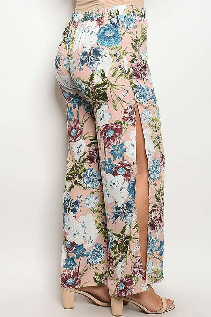 FLORAL PRINTED OPEN SIDE PANTS - orangeshine.com
