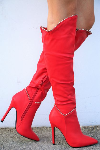 knee high heels booties - orangeshine.com