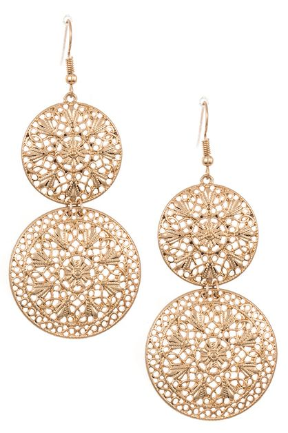 Double Round Drop Ornate Earring  - orangeshine.com