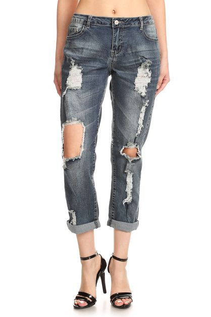 DESTROYED BOYFRIEND JEANS - orangeshine.com