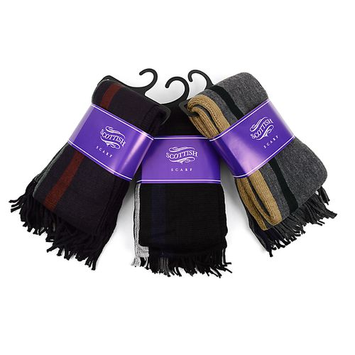 12pc Pack Scottish Acrylic Scarf - orangeshine.com