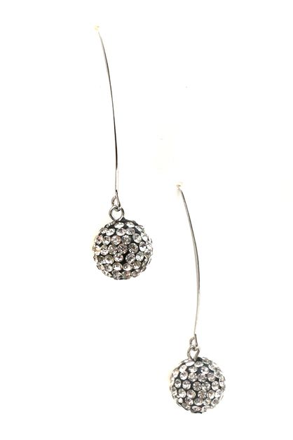 CUBIC ZIRCONIA BALL DANGLE EARRING - orangeshine.com
