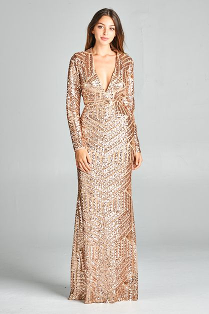 Long Sleeve Sequin Maxi Dress - orangeshine.com